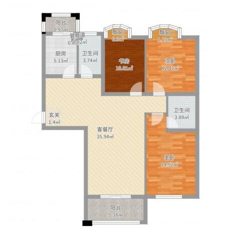 假日丽景3室2厅2卫1厨117.00㎡户型图
