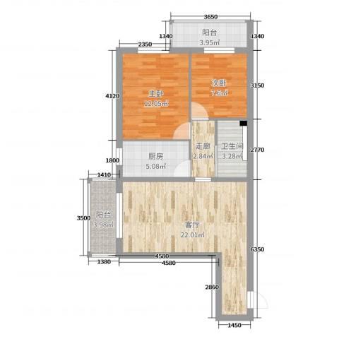 和平西街1号院2室1厅1卫1厨76.00㎡户型图