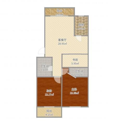 国贸新城3室2厅2卫1厨105.00㎡户型图