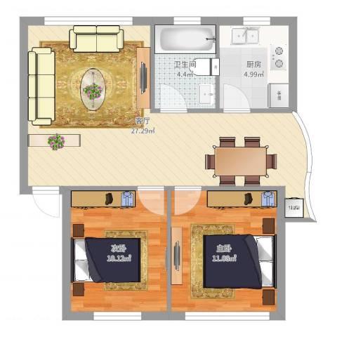 九鼎家园2室1厅1卫1厨72.00㎡户型图