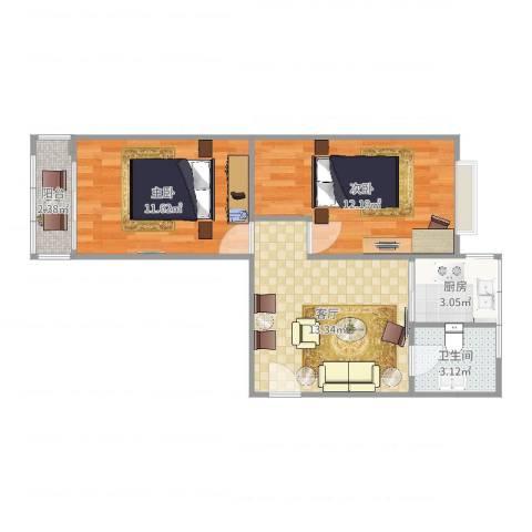 红波西里2室1厅1卫1厨45.70㎡户型图