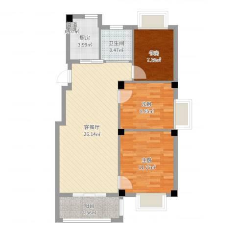 万景梅庭3室2厅1卫1厨83.00㎡户型图