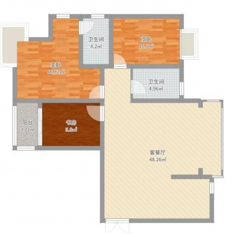 静海苑3室2厅2卫0厨96.94㎡户型图