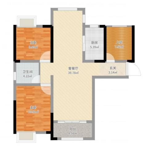 鼎盛鑫城2室2厅1卫1厨107.00㎡户型图