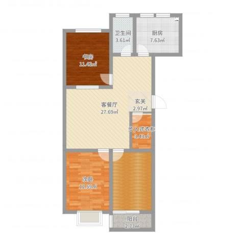 银枫家园2室2厅1卫1厨100.00㎡户型图