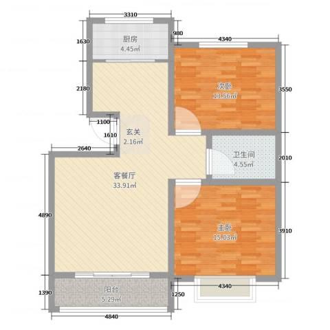 旺第华府2室2厅1卫1厨96.00㎡户型图