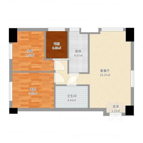 金融街・漫香林第6区3室2厅1卫1厨67.00㎡户型图