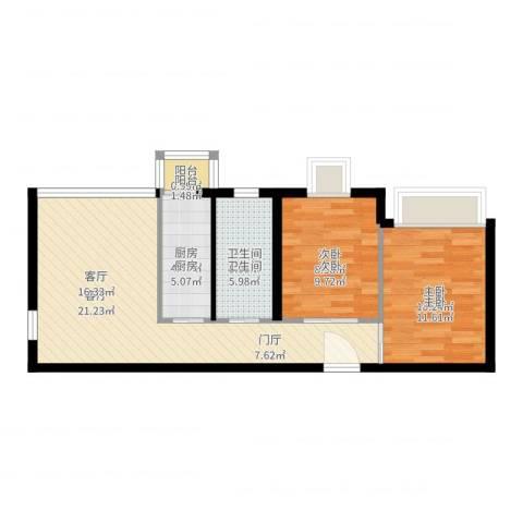 天和林溪2室1厅1卫1厨63.00㎡户型图
