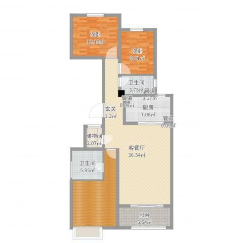 唐山新世界中心2室2厅2卫1厨125.00㎡户型图