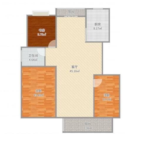 警韵之家3室1厅1卫1厨135.00㎡户型图