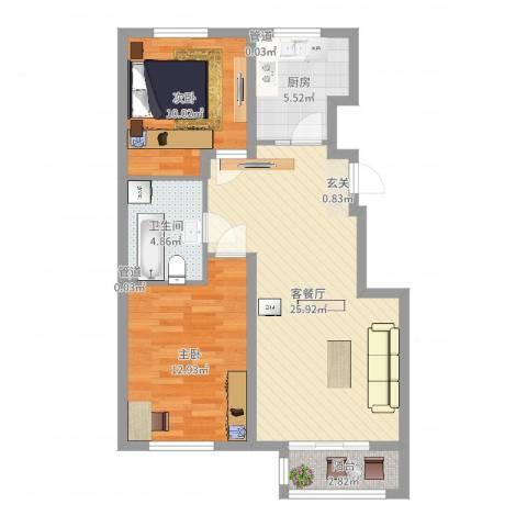 新约克小镇2室2厅1卫1厨78.00㎡户型图
