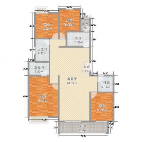 华富世家三期4室2厅3卫1厨207.00㎡户型图