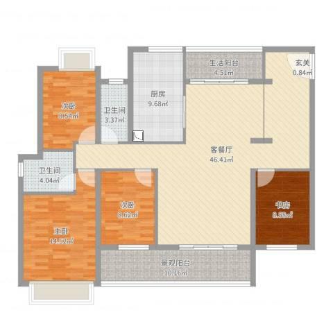 皇庭波西塔诺4室2厅2卫1厨148.00㎡户型图