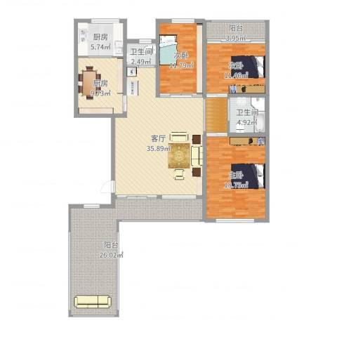 月潭爱丁堡3室1厅2卫2厨167.00㎡户型图