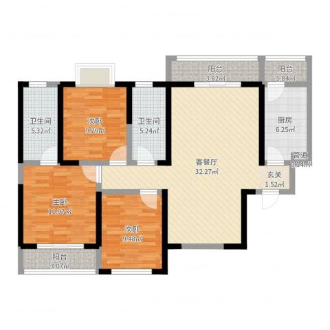 旭景崇盛园3室2厅2卫1厨111.00㎡户型图