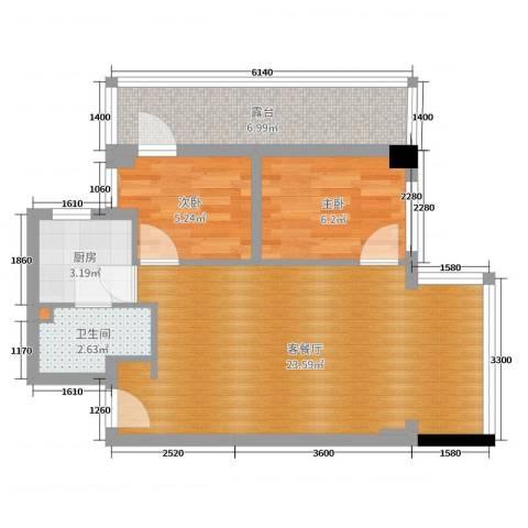 新鸿花园2室2厅1卫1厨60.00㎡户型图