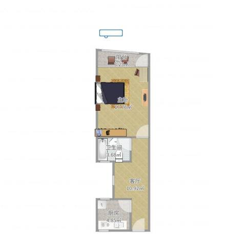真北一街坊1室1厅1卫1厨51.00㎡户型图
