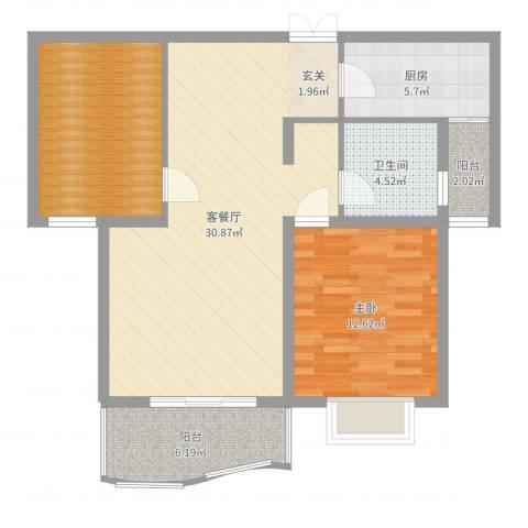白玉兰家园1室2厅1卫1厨91.00㎡户型图