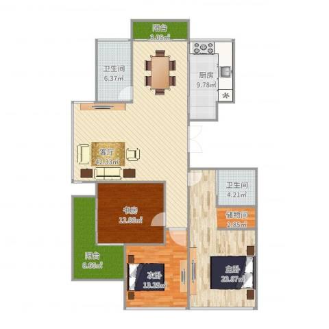 红苹果3室1厅2卫1厨155.00㎡户型图