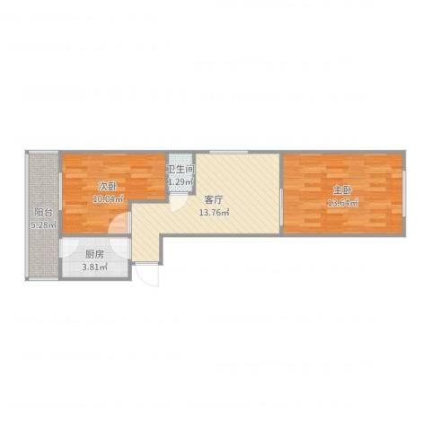 乐桥里二室2室1厅1卫1厨60.00㎡户型图