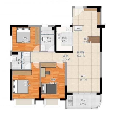 锦盛恒富得3室2厅2卫1厨128.00㎡户型图
