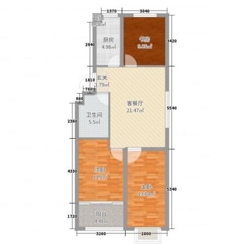 恒信宝通御园3室2厅1卫1厨88.00㎡户型图