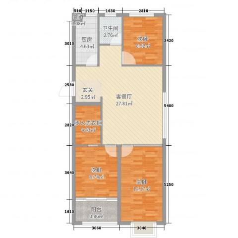 恒信宝通御园3室2厅1卫1厨95.00㎡户型图