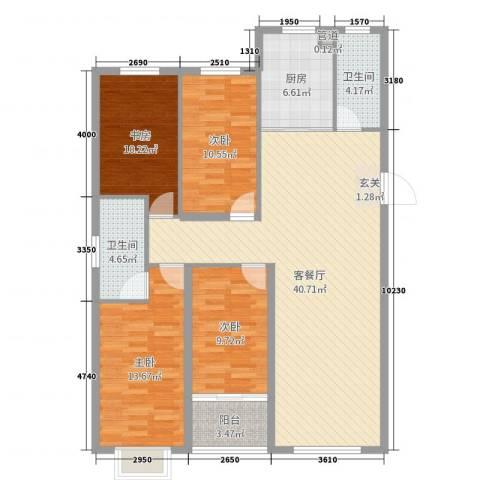 恒信宝通御园4室2厅2卫1厨130.00㎡户型图