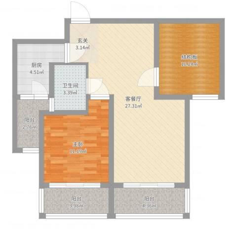乾基九境城1室2厅1卫1厨85.00㎡户型图