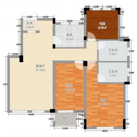 九江国际湾3室2厅2卫1厨121.00㎡户型图