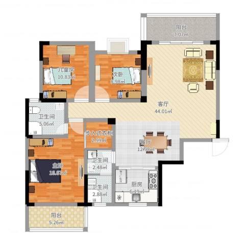 枫雅名苑3室1厅3卫1厨140.00㎡户型图