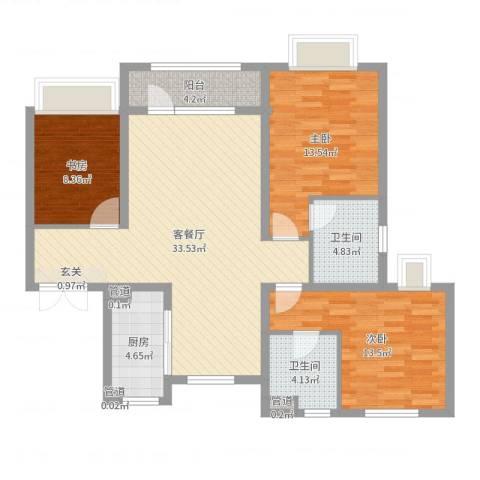 华发九龙湾中心3室2厅2卫1厨109.00㎡户型图