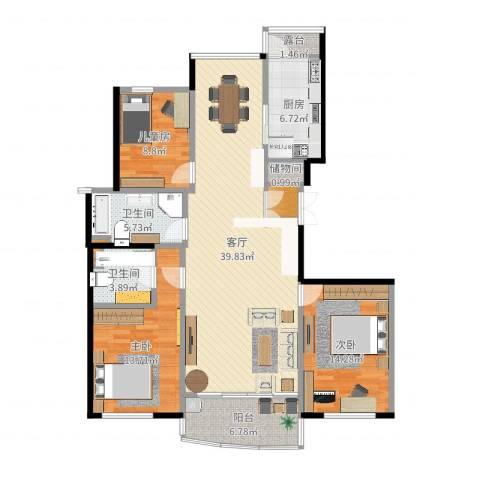金色港湾公寓3室1厅2卫1厨130.00㎡户型图