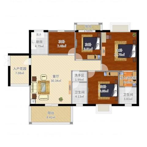 竹园新城4室1厅2卫1厨141.00㎡户型图