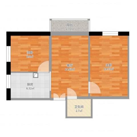 安华西里2室1厅1卫1厨62.00㎡户型图