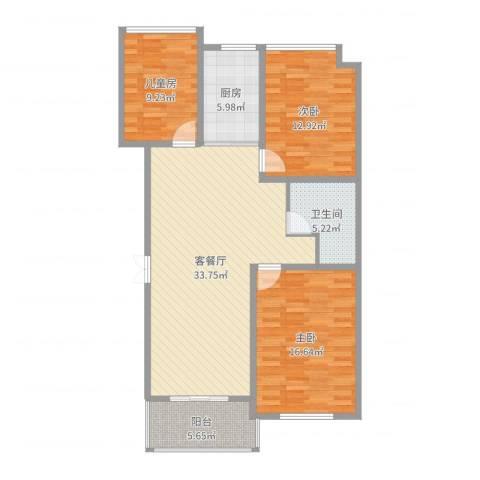 万家花园万和苑3室2厅1卫1厨112.00㎡户型图