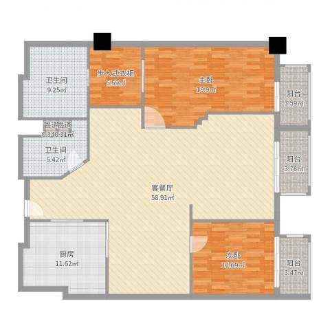 万都阿波罗2室2厅4卫1厨170.00㎡户型图
