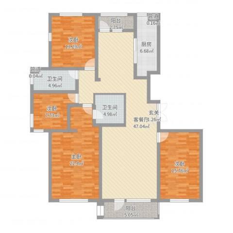 水岸花都4室2厅2卫1厨164.00㎡户型图
