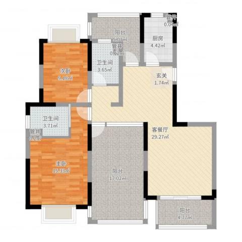 空港一号花园2室2厅2卫1厨116.00㎡户型图