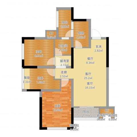合能璞丽3室1厅1卫1厨90.00㎡户型图