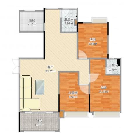 联泰香域滨江桥郡3室1厅2卫1厨98.00㎡户型图