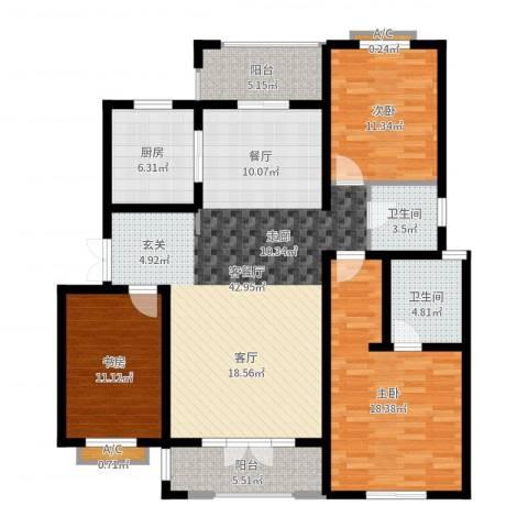 加州玫瑰园3室2厅2卫1厨138.00㎡户型图