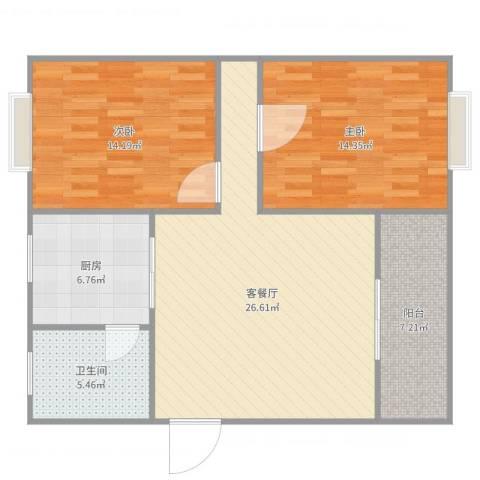 绿景华庭2室2厅1卫1厨93.00㎡户型图