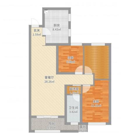 旭辉香樟公馆2室2厅1卫1厨92.00㎡户型图