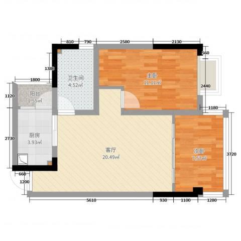 渝景新天地2室1厅1卫1厨62.00㎡户型图