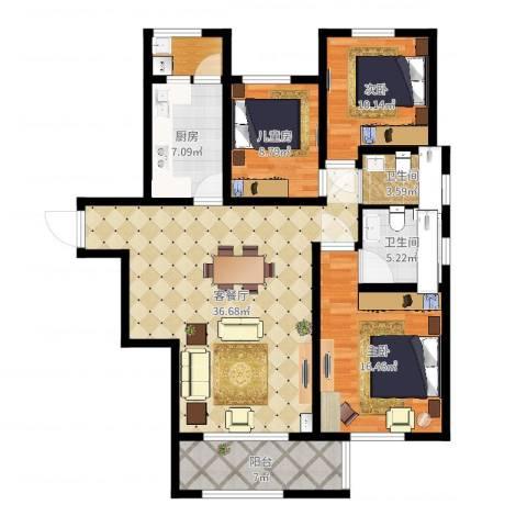同城馨座3室2厅2卫1厨122.00㎡户型图