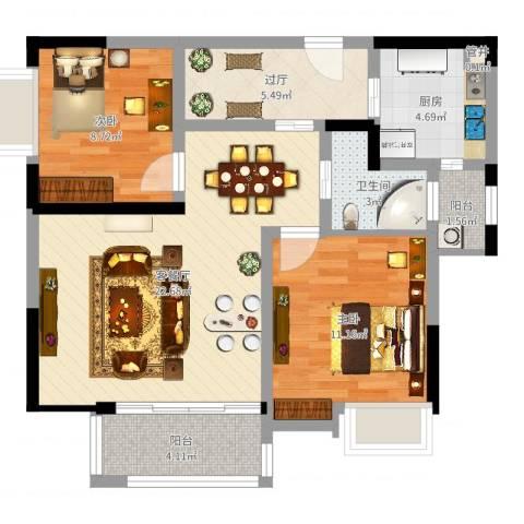桔子郡花园2室2厅1卫1厨77.00㎡户型图