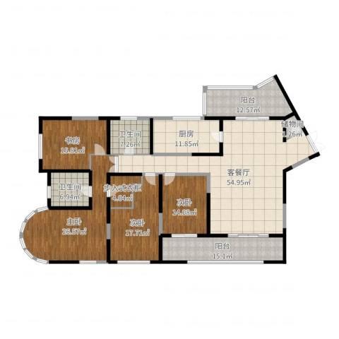 浦江海景4室2厅2卫1厨235.00㎡户型图