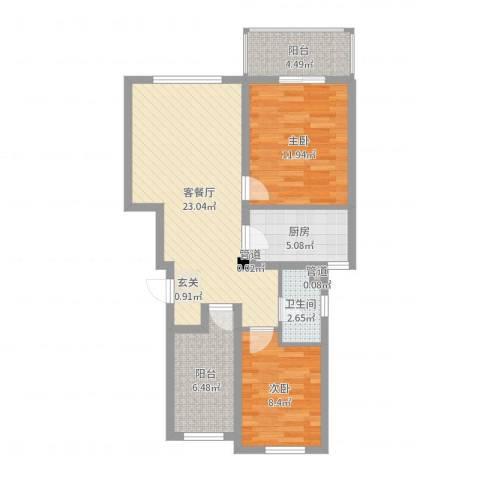 周新苑2室2厅1卫1厨78.00㎡户型图