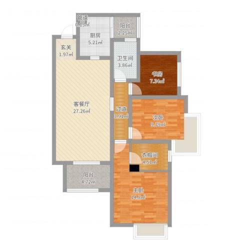 华润凤凰城三期3室2厅1卫1厨105.00㎡户型图